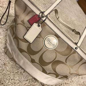 Handbags - Tan and white coach purse!